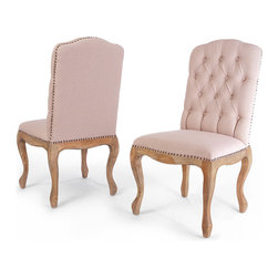 Great Deal Furniture - Jolie Weathered Wood Dining Chairs, Set of 2 - A graceful silhouette, chic diamond-tufted backing and nailhead trim detail are the makings of a must-have chair. This set of dining chairs is as pretty as it is versatile. Make them elegant showstoppers in the dining room or feminine perches for the master suite.