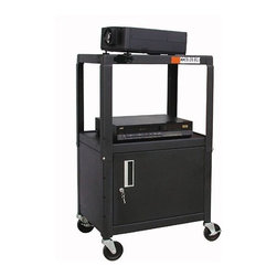 """Buhl - Adjustable Steel AV Cart with Locking Cabinet - Perfect for the office or classroom in transit, this Metal Adjustable AV Cart with Locking Cabinet by Buhl serves all the basic purposes one needs to put on a great presentation. This cart is made from durable heavy guage steel, features an adjustable design and a lockable cabinet to safeguard your equipment while on the move. A power cord and power strip are also included, to ensure your laptop or projector is ready to run wherever you are. Features: -Made from heavy guage steel with a durable powdercoat finish -26"""" to 42"""" height adjustment -Locking cabinet -UL / CSA approved -25' power cord -4-outlet power strip and cord winder -4"""" non-marring casters (2 locking) -Ships ready to assemble -Limited lifetime warranty Specifications: -Height adjustment: 26"""" - 42"""" H -Top and middle shelf dimensions: 26"""" W x 18"""" D -Locking cabinet dimensions: 15.5"""" H x 23.5"""" W x 17.5"""" D"""