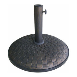 None - Bronze Weave Pattern 55-pound Umbrella Stand - Mount your outdoor umbrella in a stylish way with this decorative umbrella stand. This attractive stand features a weave pattern and a bronze finish,and it fits well with any outdoor dining set.