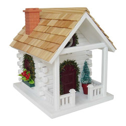 "Home Bazaar Inc - Christmas Cabin Birdhouse - Wreaths, garland and miniature poinsettia flower boxes decorate this style that will be sure to delight the birding enthusiast with the"" Holiday Spirit"". Intended for outdoor use, the back wall can be removed for easy cleaning. All of the decorations can be removed once the piece is placed outdoors."
