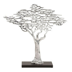 "Benzara - Aluminum Tree Table Decor - If you are looking for low cost but rare to find elsewhere decor item to bring extra galore that could refresh the decor appeal of short spaces on tables or shelves, beautifully carved 35257 Aluminum Tree Table may be a good choice.; Material: Aluminum alloy; Color: Silver as shown in picture; Supporting table decor; Hard to be seen elsewhere; Exclusively designed for limited edition; Dimensions: 24""H x 24""W"