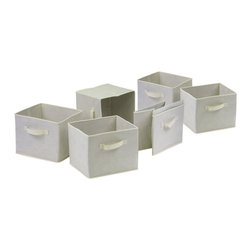 Winsome - Capri Set of 6 Foldable Beige Fabric Baskets - Set of 6 Foldable beige fabric containers. Use the large size as a magazine holder, file holder, art project holder. The next 3 sizes are great for decorative storage and organization: washcloths in the bathroom, note pads at work, personal items in chest of drawers. When not in use, they fold for easy storage. Easy to assemble