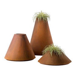 DeCastelli - Conique Planter, Small - Designed in Italy and crafted of corrosion-resistant Cor-Ten® steel, these planters share a diameter but vary in height. Suitable for indoor and outdoor use and especially attractive in public spaces.