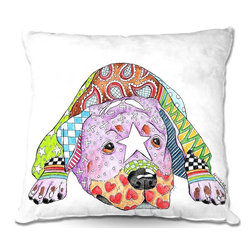 DiaNoche Designs - Pillow Woven Poplin from DiaNoche Designs by Marley Ungaro - Rottweiller Dog - Toss this decorative pillow on any bed, sofa or chair, and add personality to your chic and stylish decor. Lay your head against your new art and relax! Made of woven Poly-Poplin.  Includes a cushy supportive pillow insert, zipped inside. Dye Sublimation printing adheres the ink to the material for long life and durability. Double Sided Print, Machine Washable, Product may vary slightly from image.