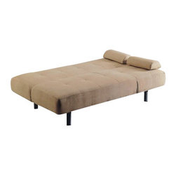 "Acme - Cybil Beige Microfiber Fabric Upholstered Adjustable Sofa Futon Bed - Cybil beige microfiber fabric upholstered adjustable sofa futon bed with tufted back and adjustable side rest. This set features a microfiber fabric upholstery and a folding back to lay flat to convert to a sleep area, and adjustable side rest to fold up when laid flat. Measures when flat 70"" x 44"" x 16""H. Measures when upright 70"" x 34"" x 33""H. Some assembly required."