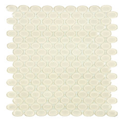 Artistic Tile Opera Glass Collection - Bravo Beige Oval Mosaic - Versatile, contemporary and timeless: Opera Glass offers ultimate design flexibility. Clear float glass, with color applied to the back, in large and small formats, full spectrum of colors, satin and gloss finishes, and wide selection of shapes allow for endless pairing possibilities. Its versatility is unrivaled. Modern and classic, mysterious and inviting, Opera Glass is fresh and elegant.