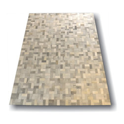Kaymanta - 8 x 10 Ft. | Hair on Leather Carpet, Grey - Grey 100% Natural Cowhide Rug - Patchwork Style