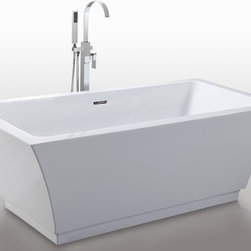 "HelixBath Pergamon Freestanding Acrylic Bathtub 67"" White w/ Overflow - Helixbath Pergamon features a solid Stainless Steel Integral lineal slotted overflow. Perfectly outfitted hardware compliments the modern clean design. Designs created for bathing purists. The curves and lines are well conceived & uncomplicated. Helixbath�s well tailored soaking tubs provide an ergonomic comfortable spa experience. Featuring an easy to clean 3M Fade Resistant finish and stainless steel frame, Pergamon is the very definition of beautiful longevity."