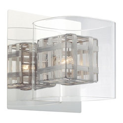 George Kovacs - Jewel Box 1-Light Bath Sconce - The chrome base on this intricate lighting fixture highlights the radiant glow from the encased bulb. The bulb is set within an aluminum cage covered in glass, adding depths of design to this magnificent sconce.