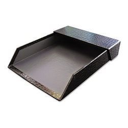 "Aurora - Proformance Letter Tray, Crocodile Pattern, Black, With Roof - Letter tray keeps papers organized and off your desk. Crocodile pattern adds a touch of elegance. Made from sturdy recycled paperboard. With Roof. Holds Paper Size: Letter; Width: 9 5/8""."