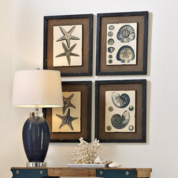 "Coastal Art Collection - Add to your shell collection. Royal blue shells are mounted on boards to create a 3-dimensional effect. Boards are backed by burlap and framed in gray-and-black washed pine for additional depth. MDF/pine. 18""h x 15""w."