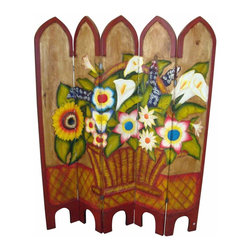 Painted Wood Screen Basket Of Flowers - Look at this Lovely screen! Hand carved and painted. Each one is slightly different and unique. Mexico's best.