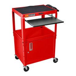 Luxor - Luxor Presentation Cart - AVJ42KBC-RD - The Luxor AVJ42 series are excellent multipurpose AV/utility carts.