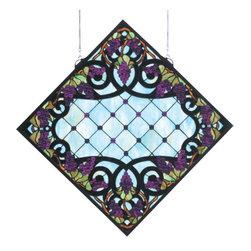 Meyda - 25.5 Inch W x 25.5 Inch H Grapevine with Black Diamond Windows - Color theme: Aqba purple XAG 59 BL
