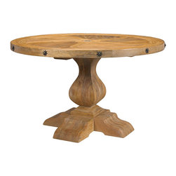 Frontgate - Tournant Dining Table - Pine and mango wood with a malibu finish. Medallion accent in the center of the tabletop and around the edge. Coordinates with other items from our French Heritage Country Home Collection. We often gravitate toward dining tables for life's biggest moments - all the big celebrations and important conversations. With that in mind, our Tournant Dining Table has the appropriate mass and comfortable formality. The sculptural design features a sweeping tabletop inlay of pine and mango wood, star medallions spaced around the edge of the table, and a thick pedestal grounded with heavy feet.  .  .  .