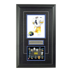 """Heritage Sports Art - Original art of the NCAA 1985 Michigan Wolverines uniform - This beautifully framed NCAA football piece features an original piece of watercolor artwork glass-framed in an attractive two inch wide black resin frame with a double mat. The outer dimensions of the framed piece are approximately 17"""" wide x 28"""" high, although the exact size will vary according to the size of the original piece of art. At the core of the framed piece is the actual piece of original artwork as painted by the artist on textured 100% rag, water-marked watercolor paper. In many cases the original artwork has handwritten notes in pencil from the artist. Simply put, this is beautiful, one-of-a-kind artwork. The outer mat is a rich textured black acid-free mat with a decorative inset white v-groove, while the inner mat is a complimentary colored acid-free mat reflecting one of the team's primary colors. The image of this framed piece shows the mat color that we use (Medium Blue). Beneath the artwork is a silver plate with black text describing the original artwork. The text for this piece will read: This is an original, one-of-a-kind watercolor painting of the 1985 Michigan Wolverines uniform worn by #4 Jim Harbaugh and was used in the creation of this Michigan Wolverines uniform evolution print and thousands of Michigan products that have been sold across North America. This original piece of art was painted by artist Nola McConnan for Maple Leaf Productions Ltd. Beneath the silver plate is a 6.5"""" x 7"""" reproduction of a uniform evolution print that celebrates the history of the team. The print beautifully illustrates the chronological evolution of the team's uniform and shows you how the original art was used in the creation of this print. If you look closely, you will see that the print features the actual artwork being offered for sale. The 6.5"""" x 7"""" print is shown above. The piece is framed with an extremely high quality framing glass. We have used this glass style for """