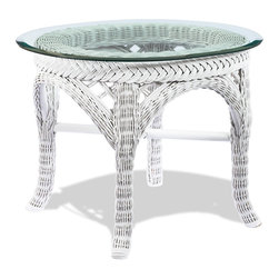 WickerParadise - White Wicker End Table - Lanai - This sweet little round white wicker table has a charming lightness that's perfect for cottage styles or breezy tropical styles. Its smooth glass top is just right for holding your drink or book next to your favorite lounge chair. Or, stand this table in the bedroom or the bathroom with a group of pretty bottles, candles or bath salts.