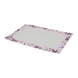 Printed Border Cotton Bath Rug Softies Purple - This printed border cotton bath rug Softies is 100% cotton. Soft to the touch and sophisticated in any bathroom, this beautiful bath rug features an eye-catching border with flower patterns and a solid off-white center panel. Machine wash cold and no dryer. Width 20-Inch and length 31.5-Inch. Off-white and purple color. Manufacturer recommends using a nonskid pad beneath the rug (not included). Indoor use only. Add a stunning look and a perfect finishing touch to your bathroom decor with this trendy bath rug! Complete your Softies decoration with other products of the same collection. Imported.