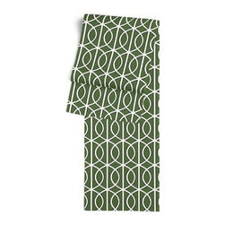 Green Modern Trellis Custom Table Runner - Get ready to dine in style with your new Simple Table Runner. With clean rolled edges and hundreds of fabrics to choose from, it's the perfect centerpiece to the well set table. We love it in this rounded trellis in emerald green and white on soft lightweight line. Your gateway to a chic modern look.