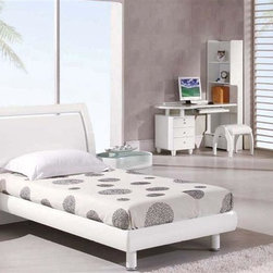 Global Furniture - 6 Pc Wood Sleigh Bedroom Set in White Finish - Choose Size: Twinpopup Includes bed, 1 nightstand, single dresser, small mirror, desk and stool. Made of MDF and paper veneer. Nightstand: 24 in. W x 20 in. D x 20 in. H. Single dresser: 47 in. W x 22 in. D x 31 in. H. Small mirror: 43 in. W x 39 in. H. Desk: 56 in. W x 26 in. D x 67 in. H. Stool: 19 in. L x 15 in. W x 17 in. H (17 lbs.). Bed: . Twin: 86 in. L x 46 in. W x 41 in. H. Full: 86 in. L x 61 in. W x 41 in. H