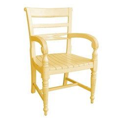 EuroLux Home - New Arm Chair Yellow Painted Hardwood Arm - Product Details