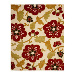 """Safavieh - Newbury Brown/Red Area Rug NWB8702-1240 - 5'1"""" x 7'6"""" - Dramatic statements for neutral rooms in need of pizzazz, the exploded floral and medallion patterns in Safavieh's Newbury collection work equally well in living room, bedroom and dining room."""