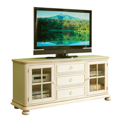 Riverside Furniture - Riverside Furniture Placid Cove 69 Inch TV Console in Honeysuckle White - Riverside Furniture - TV Stands - 16740 - Riverside's products are designed and constructed for use in the home and are generally not intended for rental commercial institutional or other applications not considered to be household usage. Riverside uses furniture construction techniques and select materials to provide quality durability and value in their products. The construction of Riversides core product line consists of a combination of cabinetmaker hardwood solids and hand-selected veneers applied over medium density fiberboard (MDF) and particle board. MDF and particle board are used in quality furniture for surfaces that require stability against the varying environmental conditions in modern homes.You'll appreciate the multiple-step application of Riverside's furniture finishes. Their finishing processes involve several steps of hand sanding applications of several types of finishing coats padding and polishing.