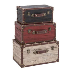 Pack it Up TrunksÑSet of 3 - Give your storage options a facelift. These wooden trunks can be stacked on top of each other and used as an innovative side table. Or, fill them up and sprinkle around your home as clever style choices.