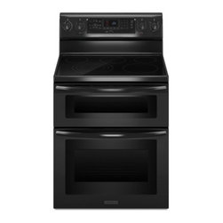 """KitchenAid - Architect Series II KERS505XBL 30"""" Freestanding Double Oven Range with 5 Burners - Prepare multiple dishes simultaneously - even at different temperatures Two ovens allow you to bake a pie in the quick-heating upper oven roast a turkey in the spacious lower oven or both at the same time"""