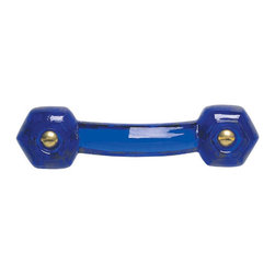 Renovators Supply - Cabinet Pulls Cobalt Glass Drawer Pull 3'' boring Chrome Screw - Glass Drawer Pulls. This glass pull has a 3 inch boring and comes with  chrome screws. This glass drawer pull is 4 1/4 inch long and projects 1 1/2 inch. Sold individually.