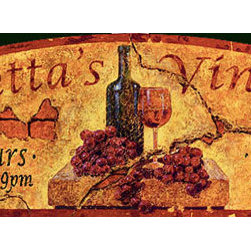 Red Horse Signs - La Spinetta's Vintage Vineyard Sign - La  Spinetta's  Vineyard  has  a  vintage  Italian  flavor  befitting  your  tuscan  abode.  This  real  wood  sign  is  created  by  printing  the  design  directly  to  distressed  wood    creating  a  vintage  look  and  appeal  sure  to  impress  friends  and  family  alike.  Sign  measures  11  x  32.