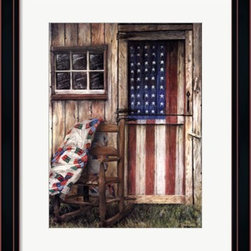 American Rocker -Framed Art Print (19 x 23) - Black with Red Accent Metropolitan Frame