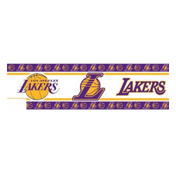 Sports Coverage - Los Angeles Lakers NBA Self Stick Wall Border - Self-stick, removable, and reusable Los Angeles Lakers Wall Borders are the easy way to decorate and won't damage walls! Peel and Stick technology will adhere to any smooth surface. Washable and dry strippable. Colorful graphics are printed on durable, tear-resistant vinyl wall border in the repeating pattern shown. Size: 5 x 15' long per package. It's so quick and amazing, just peel and stick! Installation has never been so easy!
