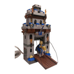 Brickablocks - Handmade Castle Portcullis Lamp - with King and Horse Minifigures - The lamp in this listing was made with new Lego parts and was hand assembled and glued one piece at a time. Some modeling adhesive may be visible on some of the LEGO bricks.
