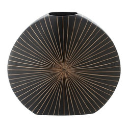 Kouboo - Sunburst Vase with Coconut Rib Inlay - This delicately handcrafted vase features a striking design that will not go unnoticed. Fashioned from coconut midribs, this sunburst vase is designed to hold water for your favorite fresh-cut flowers.