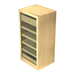 EcoWineracks Humidor Cabinet, Golden Color, Clear Acrylic Finish - EcoWineracks Humidor is an elegant and sustainable cigar storage solution. Perfect as a stand-alone humidor, it can also be installed in a wine room as a base cabinet. br>