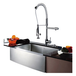 Kraus - Kraus Single Lever Pull Out Kitchen Faucet Chrome - *Update the look of your kitchen with this multi-functional Kraus single handle faucet with Pre-Rinse Spray