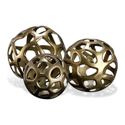 Kathy Kuo Home - Ava Sculptural Modern Rustic Metal Sphere Sculptures- Set of 3 - As design approaches continue to, the beauty of imperfection and of asymmetry becomes more and more prevalent.  This threesome, cast and finished in antique brass are a direct reflection of this.  Perfect as decorative items which invite attention and curiosity, they are ideal for display in spaces like desks and bookshelves.