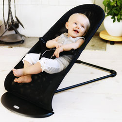 BabyBjorn - Babysitter Balance Air - The unique Baby Sitter Balance is a smart choice, start with a soothing bouncer chair for a new baby and watch it become a favorite lounge seat for a toddler. There is no need for batteries as your baby's movements are converted into a comfortable rocking motion. Features: -Safe and comfortable seat.-Comfortable rocking chair for an older child.-Materials guaranteed to contain no harmful substances.-Sitting cozy and secure your child can sleep, rest, or take part in around him/her.-Cradles your child while transforming baby's smallest movements into a soothing, rocking motion.-When baby falls asleep, the motion stops so baby don't become accustomed to needing movement to sleep.-Machine washable and ko-Tex class 1 certified.-Color: Air Black.-Babysitter Balance collection.-Collection: Babysitter Balance.-Distressed: No.-Country of Manufacture: Sweden.-Product Type: Bouncer.-Design: Solid.-Color: Black.-Hardware Finish: Plastic Base; Metal Frame.-Powder Coated Finish: No.-Gloss Finish: No.-Material: Plastic; Metal.-Seat Material: Polyester.-Number of Items Included: 1.-Non Toxic: Yes.-Stain Resistant: No.-Fire Resistant: Yes.-Water Resistant: No.-Age Range: 0-24 Months.-Lifestage: Baby.-Foldable: Yes -Travel Bag: No..-Musical: No.-Power Swinging: No.-Battery Operated: No.-Toys Included: No.-Snack Tray: No.-Lightweight: Yes.-Canopy: No.-Harness: Yes -Type of Harness: 3-Point.-Adjustable Harness: No.-Padded Harness: No..-Adjustable Seat: Yes.-Removable Seat: No.-Padded Seat: No.-Swivel Seat: No.-Vibration: No.-Adjustable Height: Yes.-Adjustable Strap: No.-Wheels: No.-Non-Skid: Yes.-Doorframe Assembled: No.-Outdoor Use: No.-Weight Capacity: 29.-Swatch Available: No.-Commercial Use: No.-Recycled Content: No.-Product Care: Machine Wash Warm. Line Dry.Specifications: -ASTM Compliant: Yes.-cETL Certified: Yes.-JPMA Certified: No.-Health Canada Compliant: Yes.-eko-Tex Standard Compliant: Yes.-U.S. Child Safety Protection Act Compliant: Yes.Dimensions: -5'' H x 16'' W x 36'' D, 7 lbs.-Overall Product Weight: 7.-Overall Height - Top to Bottom: 22.-Overall Width - Side to Side: 15.6.-Overall Depth - Front to Back: 31.6.-Height from Floor to Seat: 7.Assembly: -Assembly Required: No.