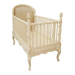 Commissioned - Hand Carved CRIB - This hand carved crib was commissioned for design & fabrication. The lead time for this crib is 12 weeks & is completely hand carved in LA. Please Inquire for custom detailing available.