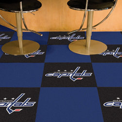 Fan Mats - NHL Washington Capitals Team Carpet Tiles Square: 1 Ft. 5 In. x 1 Ft. 5 In. - - Officially licensed modular carpet flooring. Ideal for sports themed rooms or gyms. 20 tiles, 10 logo tiles and 10 solid tiles. Covers 45 sqft. Made in U.S.A. Man-made fiber carpet face and vinyl backing. Easy installation. No under padding required. Fan Mats - 10688
