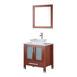 Adornus - Adornus ADRIAN-24-C-Q Chestnut Vanity - All Wood Vanity with White Quartz top and ceramic Vessel.