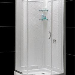 "DreamLine - DreamLine DL-6156-01CL Solo Shower Enclosure, Base & Backwalls - DreamLine Solo 34 3/8"" by 34 3/8"" Frameless Sliding Shower Enclosure, Base and QWALL-4 Shower Backwall Kit"