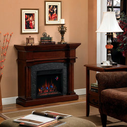 ClassicFlame - Martha's Vineyard Wall or Corner Electric Fireplace in Antique Mahogany- 18DM210 - Named after the colonial Cape Cod retreat, the Martha's Vineyard Cabinet Corner Electric Fireplace in Antique Mahogany can be installed either as a classic wall unit or configured to fit in any corner or tight space. Remarkably attractive with a distressed finish, faux slate surround, and mahogany stained hardwood veneers, it is incredibly high-tech and employs LED lighting to generate realistic flames, resin logs and a glowing ember bed. There are five flame settings ranging from deep blue to a more traditional fire controllable by remote.