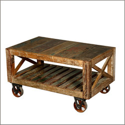 Industrial Reclaimed Wood & Iron Rolling Double X Coffee Table - Take the party inside or outside, you'll be ready with our Industrial Rolling Coffee Table.