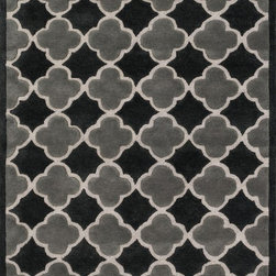 """Loloi Rugs - Loloi Rugs Brighton Collection - Black/Grey, 3'-6"""" x 5'-6"""" - There are geometric rugs and then there is the striking Brighton Collection, which sets a new standard for geometric style. Hand-tufted in India, 100% wool yarns are hand-dipped into rich dye lots, producing lively colors that pair fabulously with its playful patterns. Brighton also combines a cut and loop pile, creating a mix of heights and textures for added visual interest. Available in 12 playful designs."""