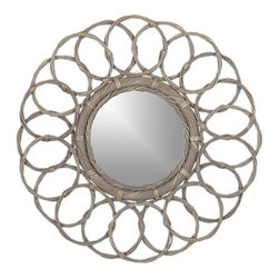 Frisco Mirror - Hand-woven wicker rolls interlocking circles around a disk of mirrored glass is a sizable wall hanging with a light, bright feel. Inspired by a Parisian flea market find, this artisan-made room accent is traditional in feel and finished in a fresh grey wash that mixes well with a range of color schemes.