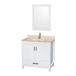 """Wyndham Collection - Sheffield 36"""" White Single Vanity w/ Ivory Marble Top & Undermount Square Sink - Distinctive styling and elegant lines come together to form a complete range of modern classics in the Sheffield Bathroom Vanity collection. Inspired by well established American standards and crafted without compromise, these vanities are designed to complement any decor, from traditional to minimalist modern. Available in multiple sizes and finishes."""