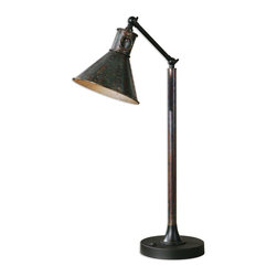 Uttermost - Uttermost Arcada Desk Lamp 29335-1 - Oxidized bronze finish with aged black details and two pivoting mechanisms. The round, tapered metal shade is a oxidized bronze finish.