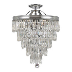 Crystorama - Crystorama 120-CH_CEILING Chloe 3 Light Semi-Flush Mounts in Polished Chrome - The clear crystal accents that adorn the brass banding compliment this antique inspired series to give the Chloe Collection a fashion forward flare.